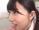 Watch Karen Haruki rub her juicy cunt while giving head
