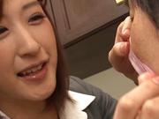 Ichika Kanhata naughty Japanese teacher sucks cock and gets cumshot