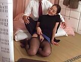 Appealing milf in sexy stocking sucking dick