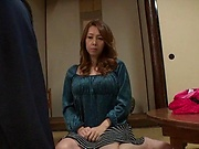 Incredible lassie on her knees sucking a huge dong