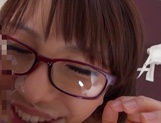 Short-haired Japanese teen in glasses Ayumi Takanashi gets a facial