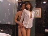 Talented Japanese AV model Yuu Asakura licks ass and gives a hand job picture 14