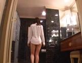 Talented Japanese AV model Yuu Asakura licks ass and gives a hand job
