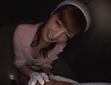 Hot elevator hostess Kaede Fuyutsuki gives head on the job picture 14