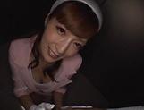 Hot elevator hostess Kaede Fuyutsuki gives head on the job picture 15