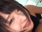 Eri Natsume nice Asian teen in her swimsuit gives pov blowjob