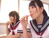 Ai Uehara and Karen Haruki sharing a huge cock picture 12