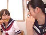 Ai Uehara and Karen Haruki sharing a huge cock picture 13