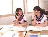 Ai Uehara and Karen Haruki sharing a huge cock