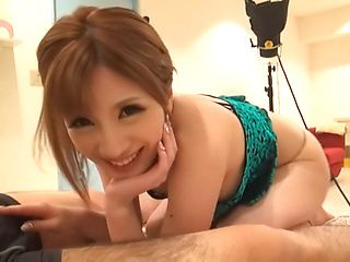 Steaming Asian lady Reira Akane gives a cute throat job on pov