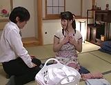 Mature Japanese AV Model enjoys sucking cock