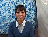 Pretty Asian babe smiles as she sucks a cock picture 13
