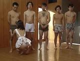Horny Japanese maid is having a blowbang