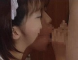 Horny Japanese maid is having a blowbang picture 28