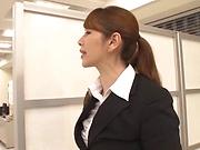 Cute Chisato Shohnda sucks cock passionately