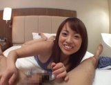 Sexy Asian babe sucks her hubby and eats sperm in pov picture 12