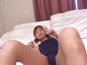 Asian babe,Misaki Kazama shows off in nasty pussy masturbation show
