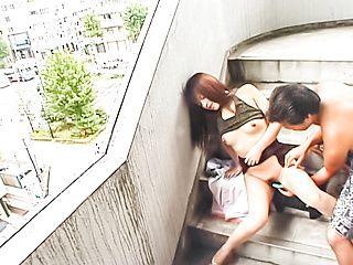 Japanese chick, Yuki Tsukamoto made to suck cock after outdoor stimulation