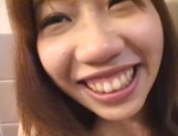 Sexy teen, Moe Otake, with hairy pussy and small tits rides cock in a toilet picture 40