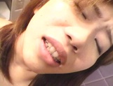 Sexy teen, Moe Otake, with hairy pussy and small tits rides cock in a toilet picture 99