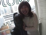 Mischievous Japnese teen, Riho Mishima, gives a blowjob in a toilet on pov picture 15