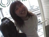 Mischievous Japnese teen, Riho Mishima, gives a blowjob in a toilet on pov picture 16