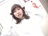 Mischievous Japnese teen, Riho Mishima, gives a blowjob in a toilet on pov picture 19