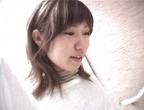 Mischievous Japnese teen, Riho Mishima, gives a blowjob in a toilet on pov picture 20