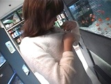 Mischievous Japnese teen, Riho Mishima, gives a blowjob in a toilet on pov picture 26