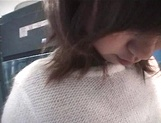 Mischievous Japnese teen, Riho Mishima, gives a blowjob in a toilet on pov picture 37