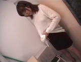 Mischievous Japnese teen, Riho Mishima, gives a blowjob in a toilet on pov picture 43
