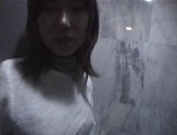 Mischievous Japnese teen, Riho Mishima, gives a blowjob in a toilet on pov picture 57