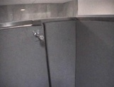 Mischievous Japnese teen, Riho Mishima, gives a blowjob in a toilet on pov picture 77