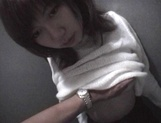 Mischievous Japnese teen, Riho Mishima, gives a blowjob in a toilet on pov picture 87