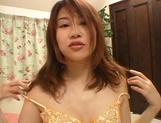 Horny Asian girl, Reimi Matsukawa, with big boobs and hairy pussy sucks cock on pov