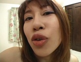 Horny Asian girl, Reimi Matsukawa, with big boobs and hairy pussy sucks cock on pov picture 64