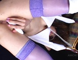Japanese AV model plays with a dildo in her pink pussy picture 11