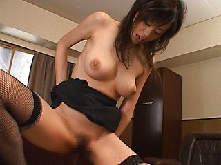 Sexy office babe is a Japanese AV model getting banged