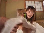 Hottie with bubble ass Mai Hagiwara sucks cock on pov gets cum on ass