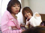 Sizzling POV threesome with two young babes