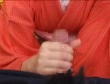 Japanese milf in sexy red kimono gets hardcore banging
