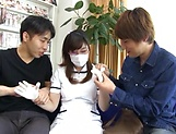 Sakura Chinami gets fucked in a threesome picture 13