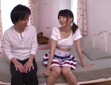 Japanese teen Iku Natsumi with shaved pussy gets fucked and creampied picture 14