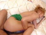 Playful little Asian blonde, Juri Aoki licks ass and gets her pussy nailed picture 20
