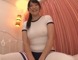 Sporty Asian teen Kurumi Tanigawa boasts of her tits and shaved pussy