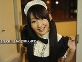 Hot brunette Asian girl with shaved pussy Kurumi Tanigawa sucks cock