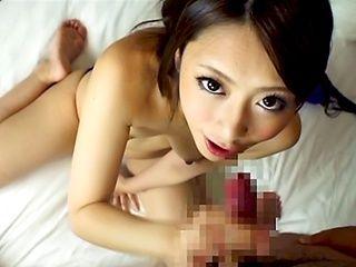 Petite Japanese amateur milf Ayu Sakurai gives a cute mouth job