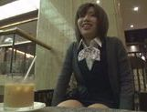 Kinky Japanese teen blows hot guy in a car swallowing jizz picture 11
