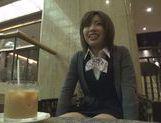 Kinky Japanese teen blows hot guy in a car swallowing jizz