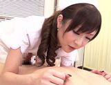 Asian nurse with curly hair Arisa Nakano makes cock massage picture 17